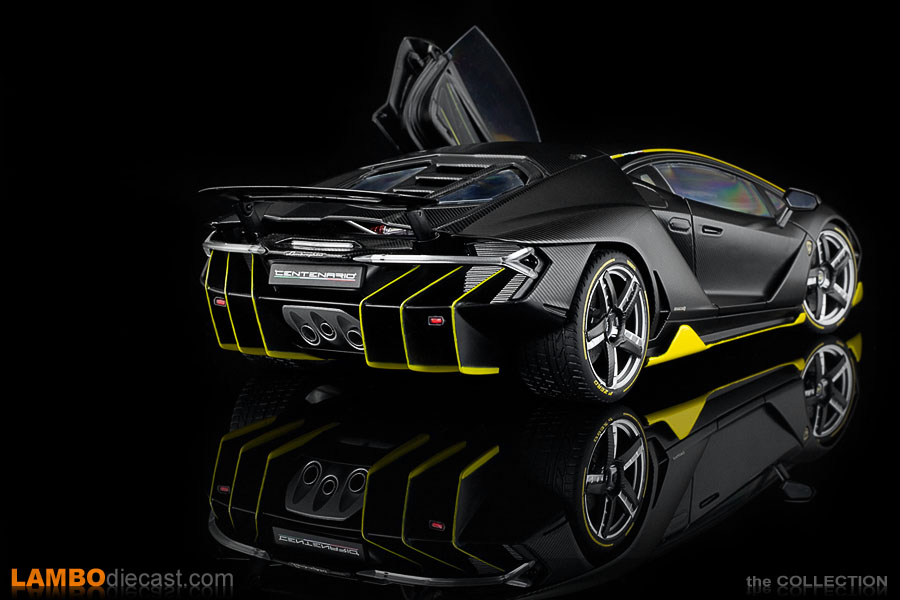 A rear view of the AUTOart sample of their 1/18 scale Lamborghini Centenario