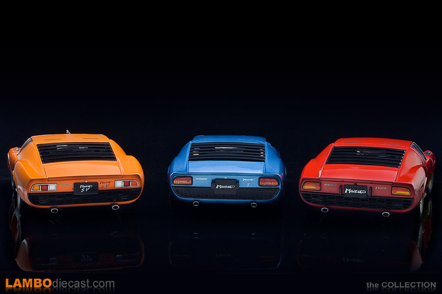 The three generations of the Lamborghini Miura side by side