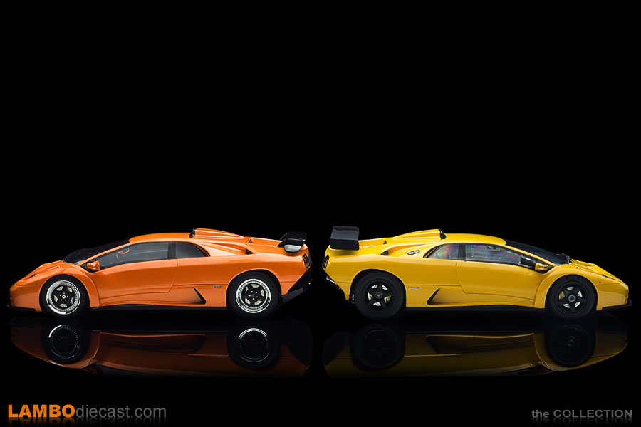 The Diablo GT and Diablo GTR side by side, street version versus race version
