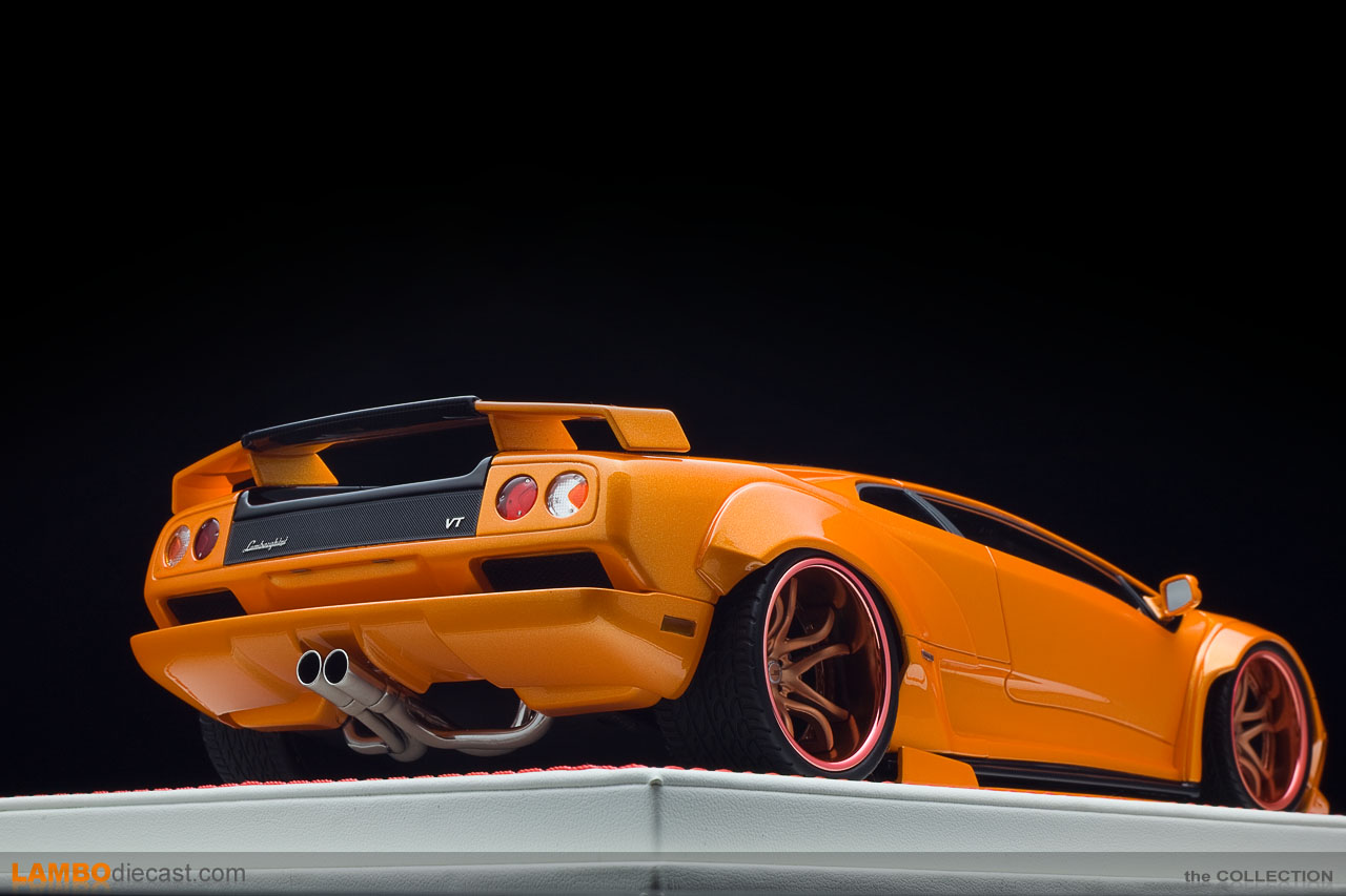 Low angle view of the stunning D&G scale model of the Lamborghini Diablo by Souki