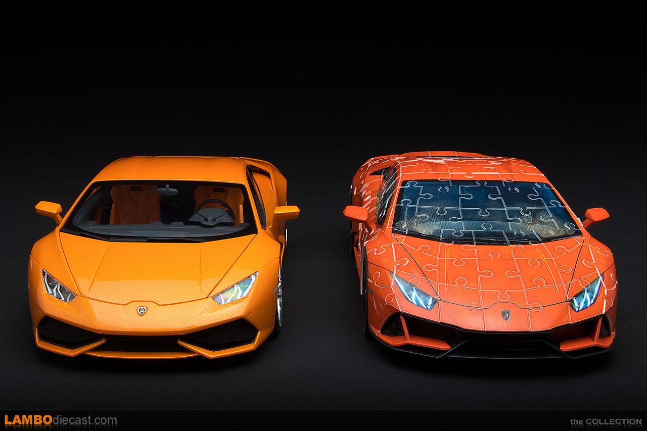 Compared to the AUTOart made Huracan LP610-4, this 3D puzzle looks to scale