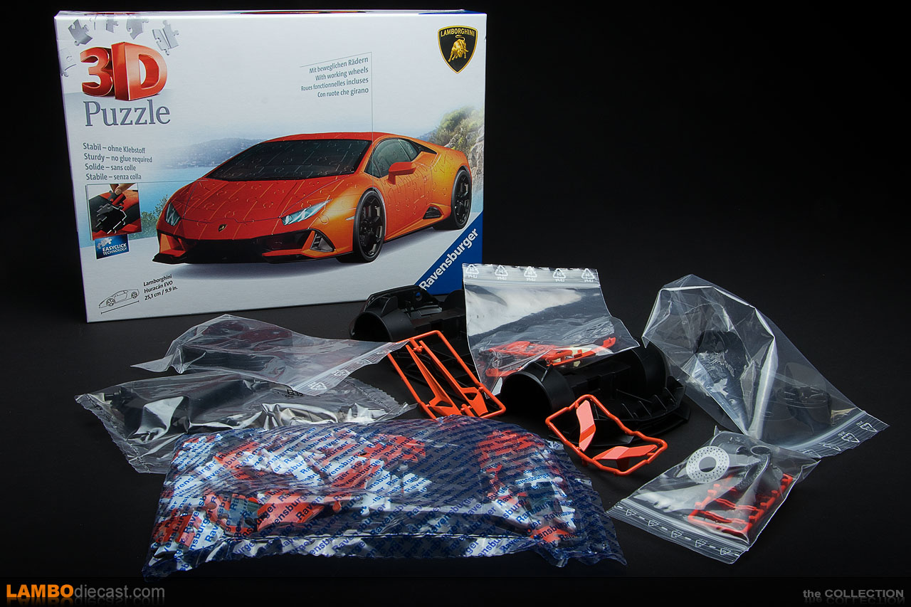 Lots of plastic parts in this 3D Puzzle kit for the Lamborghini Huracan EVO