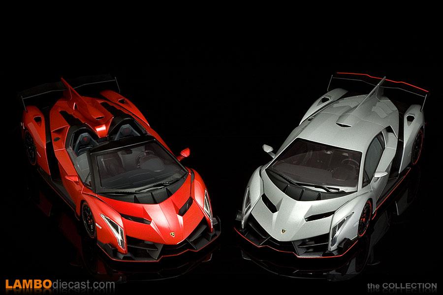 Genial AutoArt Veneno And Kyosho Veneno Roadster Side By Side